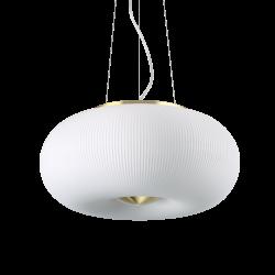 Lampa wisząca rondo ryflowana mleczna kula ARIZONA SP5 214481 IDEAL LUX