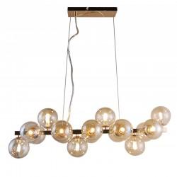Lampa wisząca belka kule bursztynowe MARBELIO PND-6161-16 GO+CO złota ITALUX
