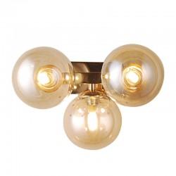 Lampa kinkiet kule bursztynowe MARBELIO WL-6161-3 GO+CO złoty ITALUX